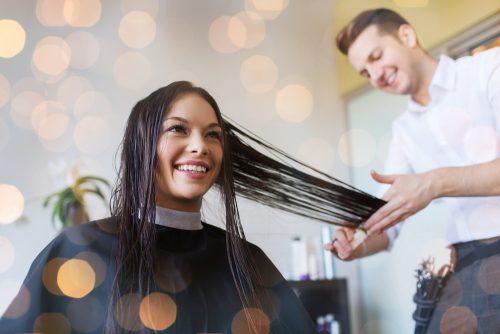 hair stylist practicing in salon