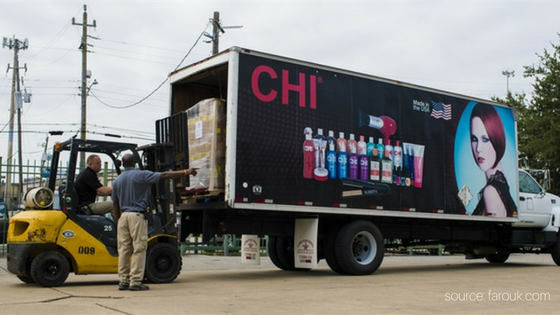chi truck loading supplies for harvey victims