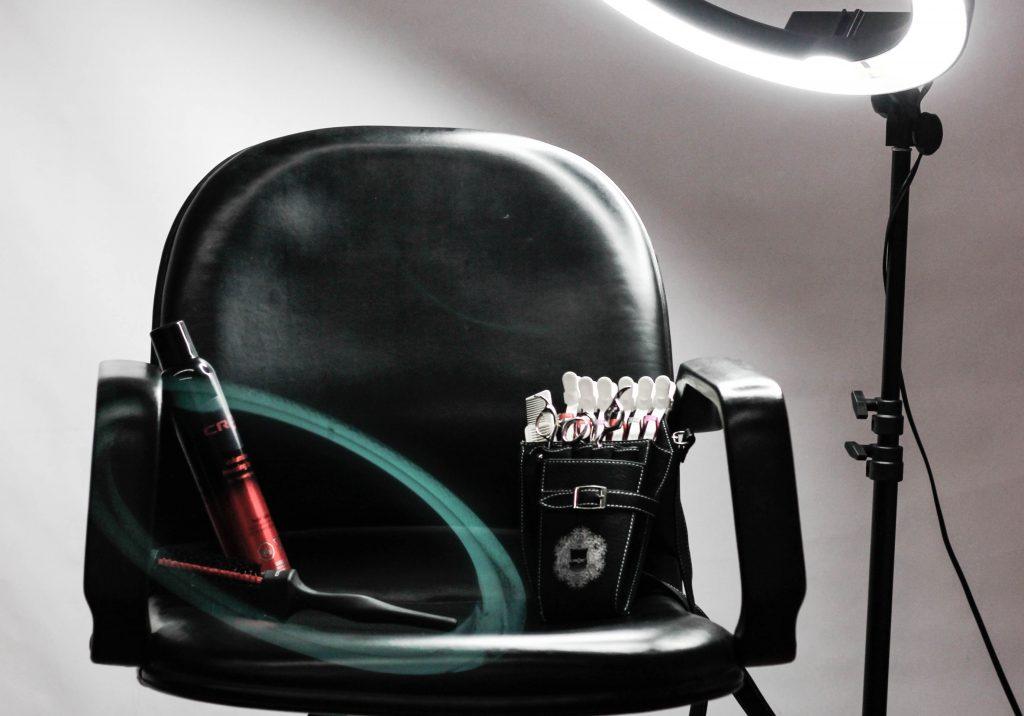 salon chair in spotlight